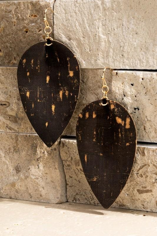 BORN WILD CORK TEAR DROP EARRINGS-BLACK - Infinity Raine