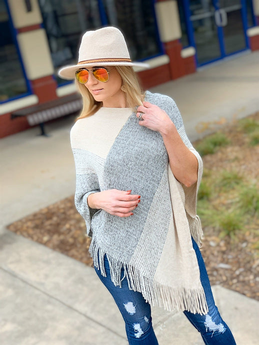 THE PERFECT OCCASION COLOR BLOCK PONCHO - Infinity Raine