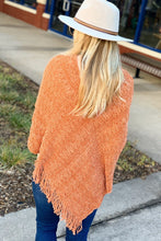 Load image into Gallery viewer, EYE CATCHING CHENILLE PONCHO-RUST - Infinity Raine