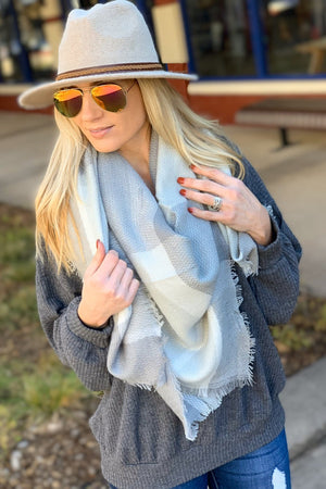 FINALLY HAVE YOU TARTAN FRINGE BLANKET SCARF-LIGHT GRAY - Infinity Raine
