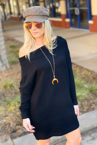 SOMETHING SO GOOD PULLOVER OFF SHOULDER SWEATER DRESS-BLACK - Infinity Raine