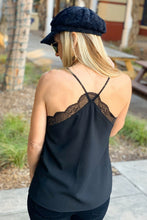Load image into Gallery viewer, SLIP INTO THIS LACE CAMI SOLID TANK TOP-BLACK - Infinity Raine