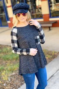 CHILL GIRL CHECK SLEEVE TUNIC TOP-BLACK - Infinity Raine