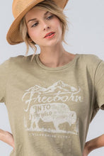 Load image into Gallery viewer, FREEDOM BUFFALO T-SHIRT-OLIVE - Infinity Raine