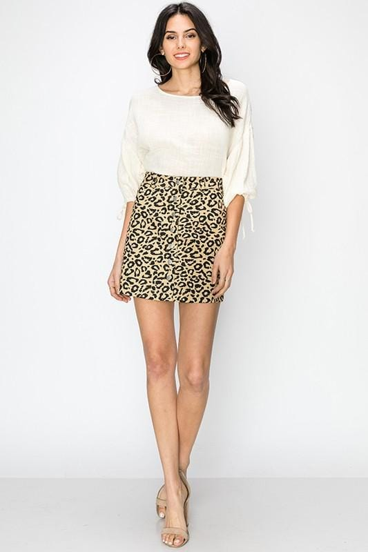 FEELING READY LEOPARD PRINT BUTTON UP SKIRT-TAN - Infinity Raine