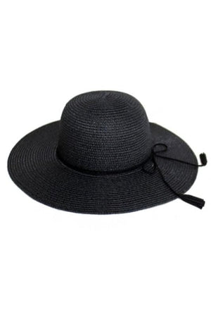FLOPPY W/SUEDE TASSEL FRINGED ROPE BAND SUN HAT-BLACK - Infinity Raine