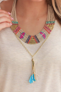 MOROCCAN MUSE NECKLACE-TAUPE MULTI - Infinity Raine