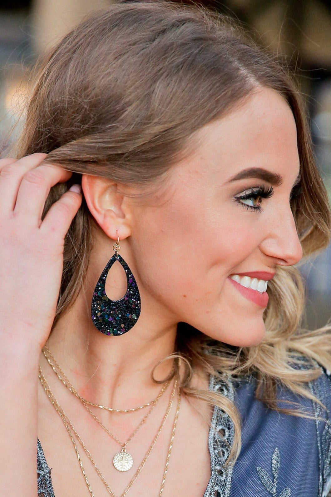SEQUIN BLACK TEAR DROP EARRINGS - Infinity Raine