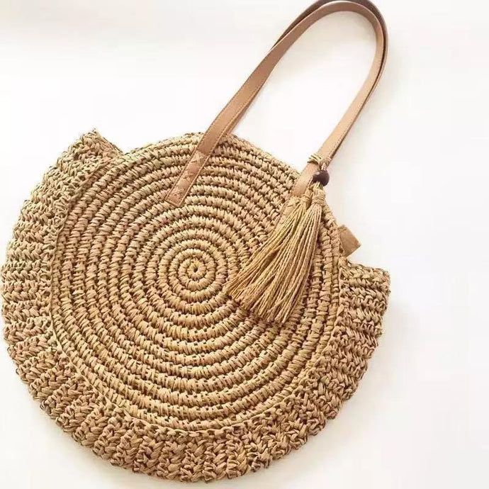 PEARL CITY WOVEN ROUND STRAW BAG - Infinity Raine