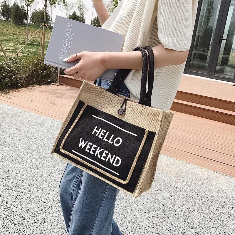 HELLO WEEKEND JUTE TOTE - Infinity Raine