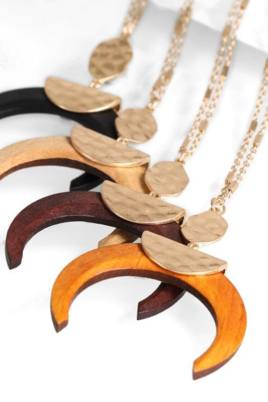 fdac15935d9ec HANGING IN THERE WOOD CRESCENT HORN NECKLACE-BLACK,BROWN,LIGHT BROWN