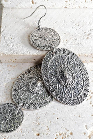SIMPLY MARVELOUS BOHEMIAN MANDALA EARRINGS-SILVER - Infinity Raine