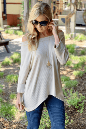 SIMPLE KIND OF LOVE TAUPE RIBBED HI/LO TOP - Infinity Raine