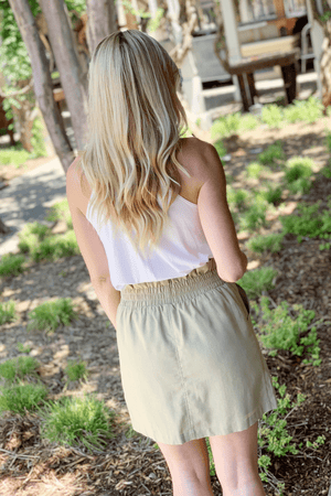 BRUNCH ON POINT LINEN BUTTON SKIRT-OLIVE - Infinity Raine