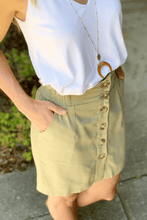 Load image into Gallery viewer, BRUNCH ON POINT LINEN BUTTON SKIRT-OLIVE - Infinity Raine