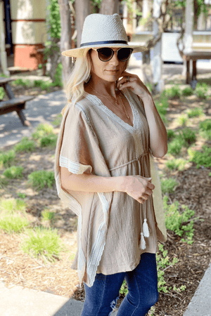 SIMPLE AND EASY DRAWSTRING TUNIC-LATTE - Infinity Raine