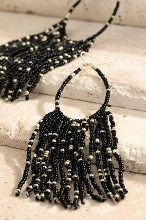 LIFE OF THE PARTY BEADED TASSEL EARRINGS-BLACK - Infinity Raine