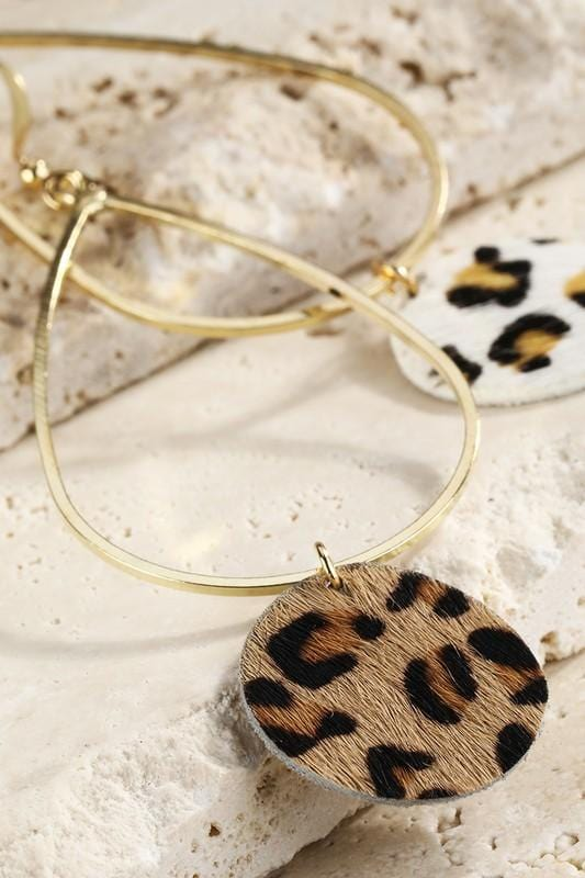 BASICALLY CHIC LEOPARD EARRINGS-BROWN - Infinity Raine