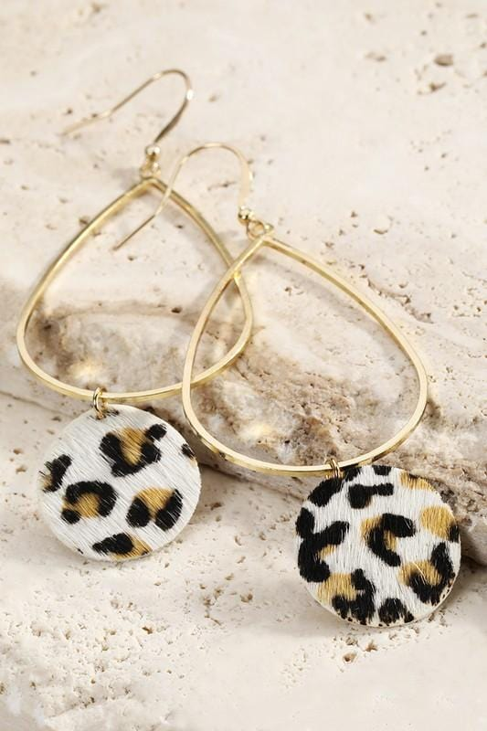 BASICALLY CHIC LEOPARD EARRINGS-WHITE - Infinity Raine