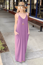 Load image into Gallery viewer, SPRING INTO STYLE SPAGHETTI STRAP MAXI DRESS W/POCKETS-EGGPLANT - Infinity Raine