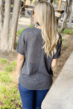 GET CLOSER KNIT V-NECK SWEATER SHIRT- CHARCOAL - Infinity Raine