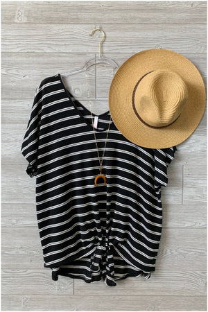 KNOT GOING ANYWHERE FRONT TIE V-NECK TOP-STRIPED BLACK-PLUS - Infinity Raine