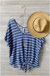 KNOT GOING ANYWHERE FRONT TIE V-NECK TOP-STRIPED DENIM-PLUS - Infinity Raine