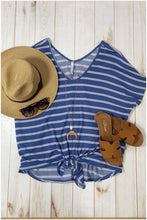 Load image into Gallery viewer, KNOT GOING ANYWHERE FRONT TIE V-NECK TOP-STRIPED DENIM-PLUS - Infinity Raine