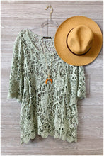 Load image into Gallery viewer, THIS IS THE GOOD LIFE CROCHET TOP-PLUS-LIGHT SAGE - Infinity Raine