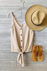 KEEP IT COOL-WAFFLE KNIT SLEEVELESS TIE FRONT BUTTON UP TOP-NATURAL - Infinity Raine