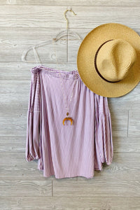 LIFE IN COLOR STRIPED OFF SHOULDER TOP-PURPLE - Infinity Raine