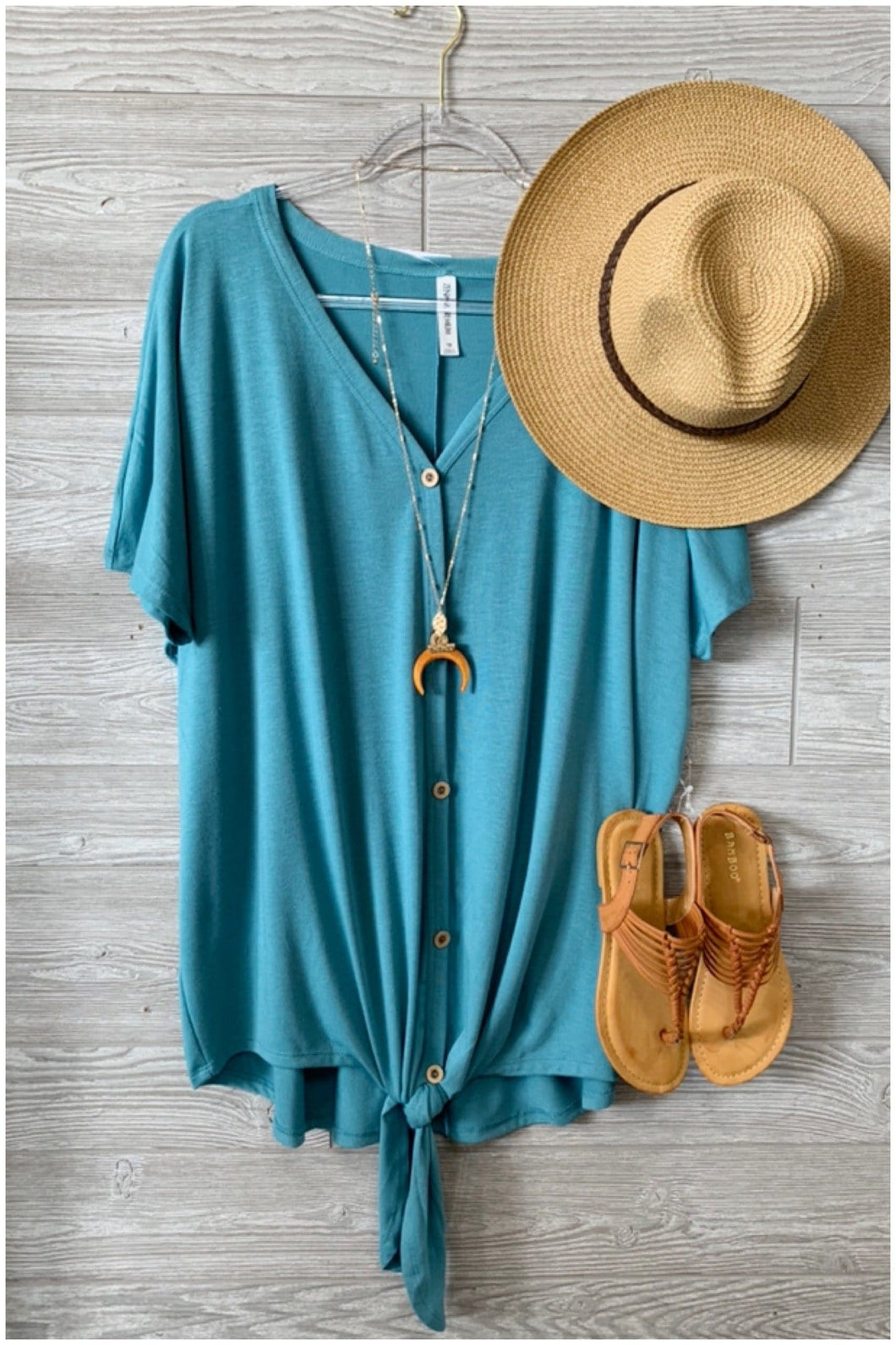 SHORT SLEEVE BUTTON DOWN TIE FRONT TOP -PLUS SIZE-DUSTY TEAL - Infinity Raine