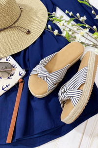 GO YOUR OWN WAY ESPADRILLE HEEL SLIP ON SANDAL-NAVY STRIPE - Infinity Raine