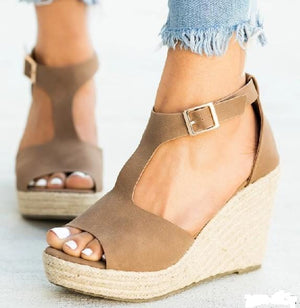 CENTER OF ATTENTION ESPADRILLE WEDGE SANDAL-MOCHA - Infinity Raine