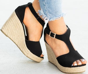CENTER OF ATTENTION ESPADRILLE WEDGE SANDAL-BLACK - Infinity Raine
