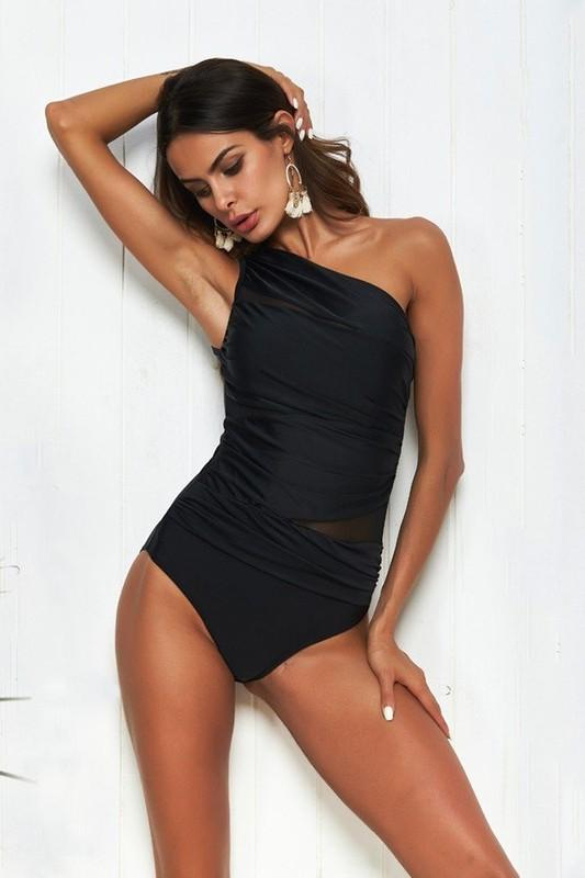 SEAS THE DAY ONE SHOULDER ONE PIECE-BLACK - Infinity Raine