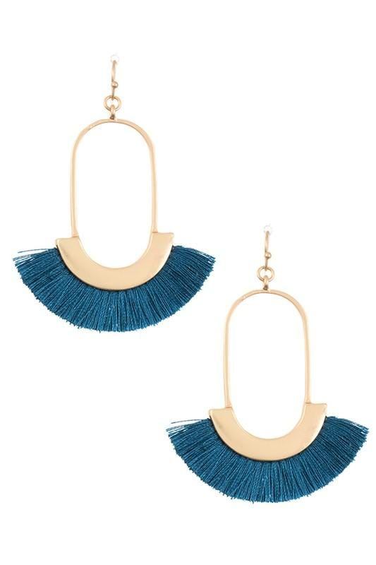 GOLD DANGLE FANNED FRINGE EARRINGS-TEAL - Infinity Raine