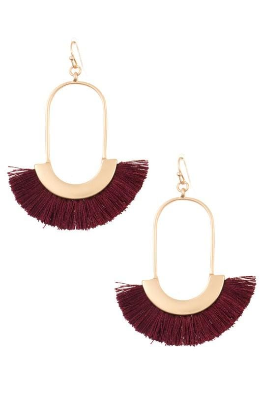GOLD DANGLE FANNED FRINGE EARRINGS- BURGUNDY - Infinity Raine
