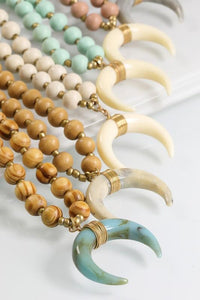 TAKE THE BULL BY THE HORNS NECKLACE-MINT, NUDE, TURQUOISE - Infinity Raine