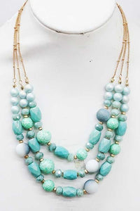 BEADED YOU TO IT BEADED CRYSTAL NECKLACE SET-AQUA BLUE - Infinity Raine