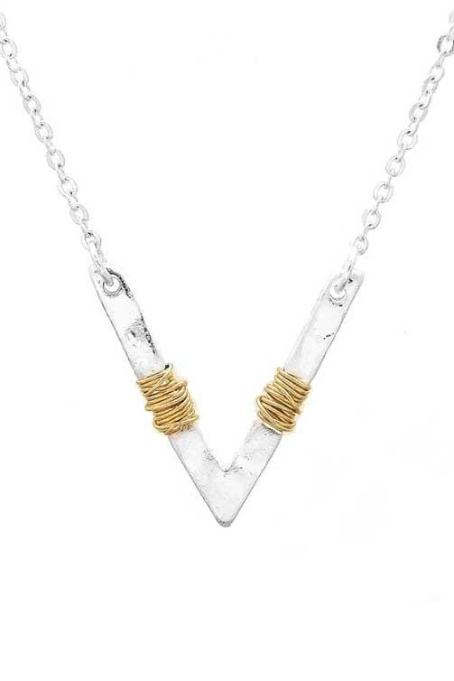 WRAPPED AROUND YOU CHEVRON NECKLACE-WORN GOLD, WORN SILVER - Infinity Raine