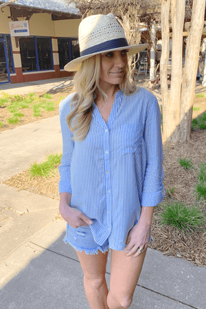 WHAT YOU NEED BUTTON UP STRIPED TOP-BLUE - Infinity Raine
