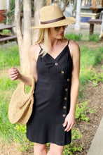 Load image into Gallery viewer, DRIVE ME CRAZY BUTTON UP LINEN DRESS-BLACK - Infinity Raine