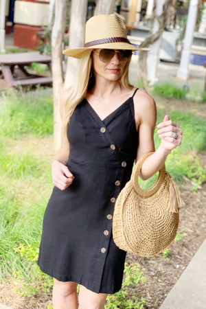 DRIVE ME CRAZY BUTTON UP LINEN DRESS-BLACK - Infinity Raine