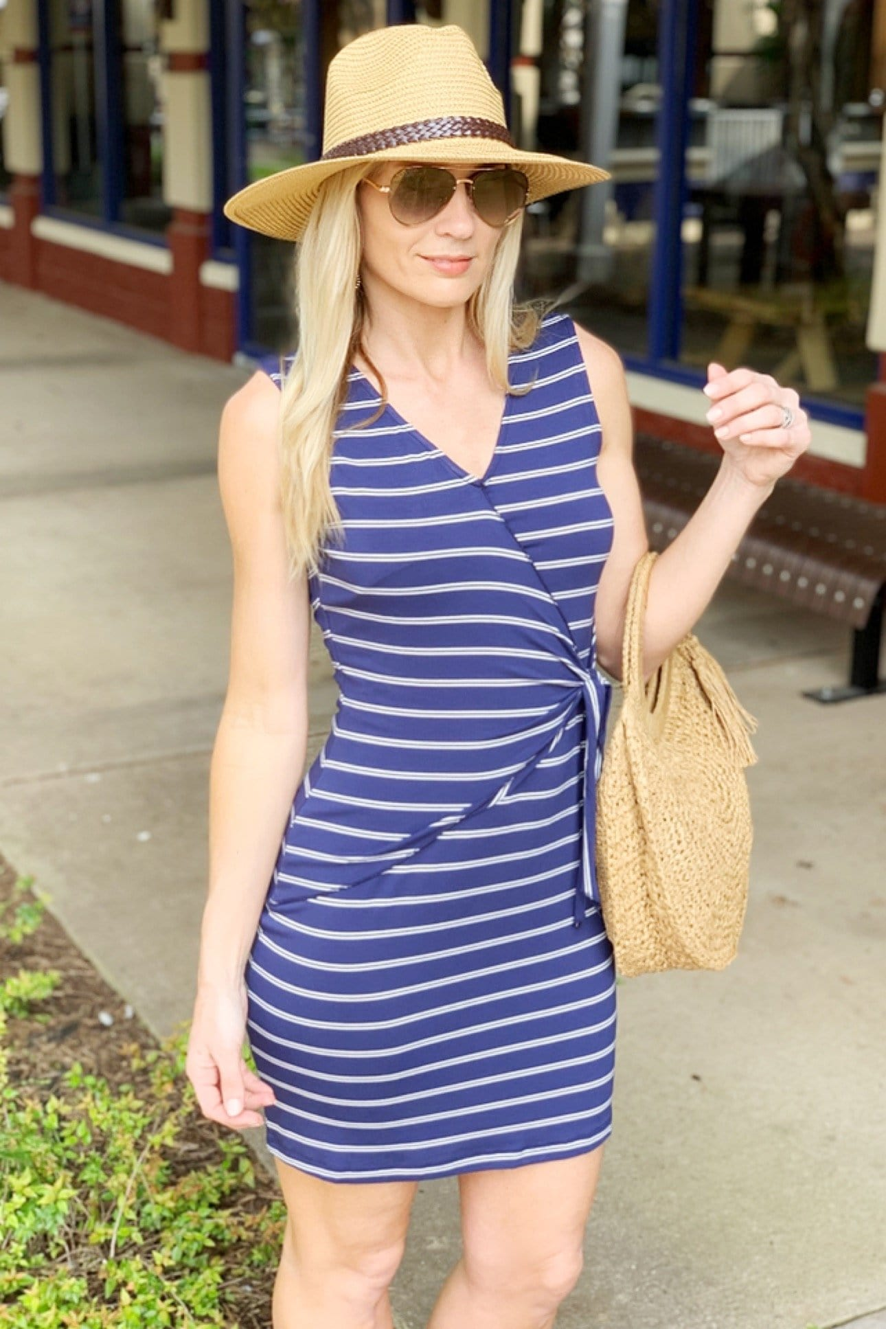 IT'S A SPRING THING WRAP FRONT TIE DRESS-NAVY - Infinity Raine