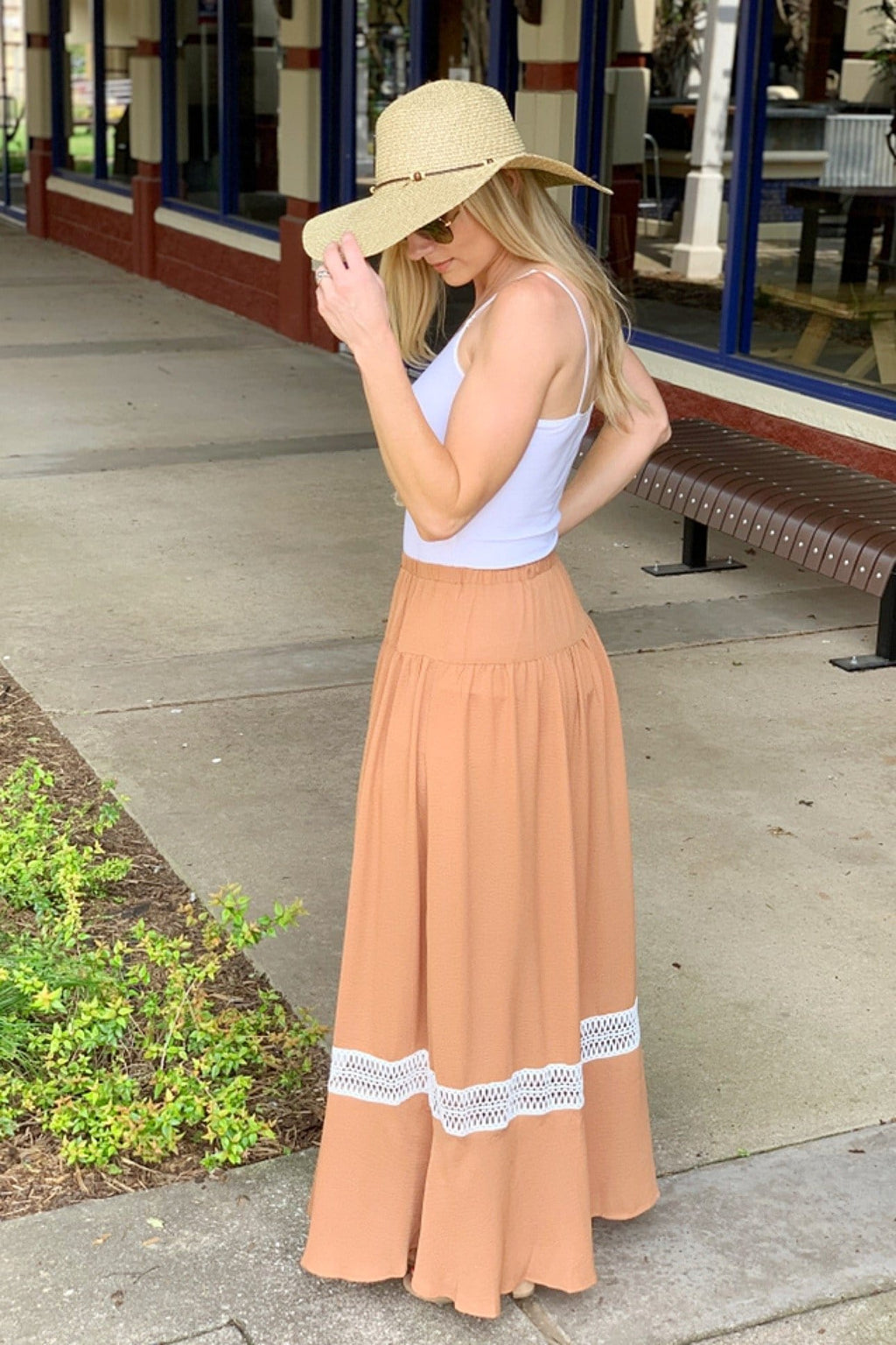 LOVELY PLACE MAXI SKIRT-CAMEL - Infinity Raine