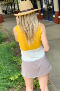 GET OUT THERE COLOR BLOCK TOP-MARIGOLD - Infinity Raine