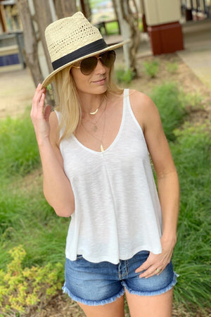 FEELING YOUR BEST RIBBED V-NECK TANK TOP-OFF WHITE - Infinity Raine