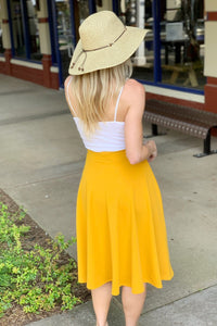 DAY AND NIGHT MIDI SKIRT-MUSTARD - Infinity Raine