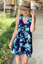 Load image into Gallery viewer, GO FOLLOW THE FLOWERS DRESS-NAVY FLORAL - Infinity Raine